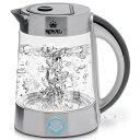【5%オフクーポン発行中】ロイヤル・エレクトリック・ケトル BPAフリー 電気ケトル ガラス 湯沸かしポット 1.7L コードレステンレス 温…