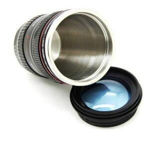 カメラレンズ仕様24ー105ミリタイプ保温レンズ型マグカップブラック人気グッズ