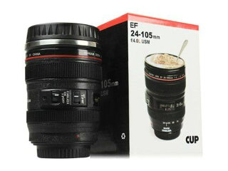 カメラレンズ仕様保温レンズ型マグカップブラック人気グッズ