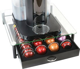 【拡大フライデイセール!あなたに10%OFFクーポン!】DecoBros クリスタル 強化ガラス ネスプレッソ バーチュオリン ヴァーチュオ ストレージ 引き出しホルダー ネスプレッソ VertuoLine Coffee カプセルホルダー 40カプセル 収納 KT-010-1
