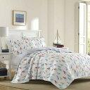 ローラアシュレイ【シングル】リバーシブル ベッドキルト ヨットのパターン マルチカバー 寝具 ベッドカバー ピローケース