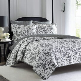 【チャンス!あなたの5%OFFクーポン】 ローラアシュレイ【クイーン】Amberley Cotton Quilt Set ブラックフラワー ベッドキルトセット マルチカバー キルト 寝具 ベッドカバー ピロケース