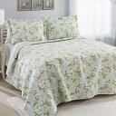 ローラアシュレイ キング ベッドキルトセット 花柄 マルチカバー キルト 寝具 ベッドカバー ピロケース