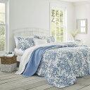 【月末セール10%オフ:クーポン発行中!】ローラアシュレイ【シングル】ベッドフォード ベッドキルトセット 青い花のデザイン マルチカ…