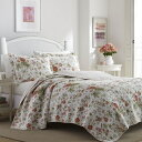 ローラアシュレイ クイーン リバーシブル ベッドキルト 花柄 Breezy Floral マルチカバー 寝具 ベッドカバー ピローケース