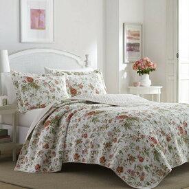 【生活応援20%還元クーポン】ローラアシュレイ クイーン リバーシブル ベッドキルト 花柄 Breezy Floral マルチカバー 寝具 ベッドカバー ピローケース