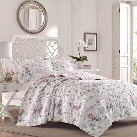 ●進呈!5%オフクーポン●ローラアシュレイ【シングル】リバーシブル ベッドキルト Breezy Floral 花柄 マルチカバー 寝具 ベッドカバー ピローケース