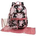 ローラアシュレイ マザーズバッグ バックパック ラージ キルト マザーズバッグ ピンク/ブラック おむつバッグ