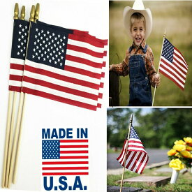 【5%OFFクーポン発行中】ポール付き Annin ハンドフラッグ4本セット インテリアにも 人気の国旗 アメリカ 星条旗 国旗 20.3cm x30.5cm Annin Flagmakers US Hand Flag