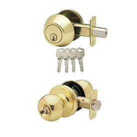 キー付きドアノブセット Copper Creek ドアノブ 取っ手 交換 BKDB141-PB 真鍮 ゴールド 出入り口ドア用