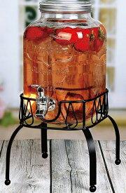 スタンド付 ガラス製 ウオーターディスペンサー 3.78L ドリンクサーバー ガラスサーバー Estilo 1 Gallon Single Beverage Drink Dispenser On Metal Stand