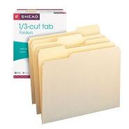 送料無料!!書類整理がとても簡単にSmeadマニラファイルフォルダー1/3-CutTab,LetterSizeManila100perBox