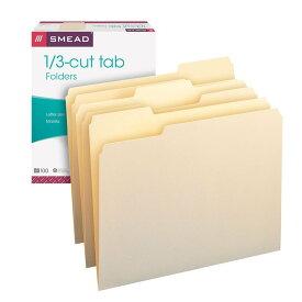 【チャンス!あなたの5%OFFクーポン】 マニラファイル 書類整理 Smead マニラ ファイルフォルダー 1/3-Cut Tab Letter Size Manila 100 per Box おうち時間 ステイホーム