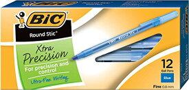 出血!5の付く日クーポン発行中 ビック USA (BIC USA) 24本 ラウンドスティック エクストラプレシジョン ボールペン ファインポイント 0.8mm ブルー 12本入り 2セット おうち時間 ステイホーム
