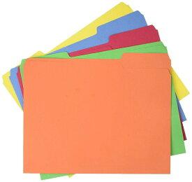 【本日クーポン5%:ポイント3倍】カラー マニラファイル 書類整理がとても簡単に マニラ ファイルフォルダー AmazonBasics File Folders Letter Size 100 Pack Assorted Colors