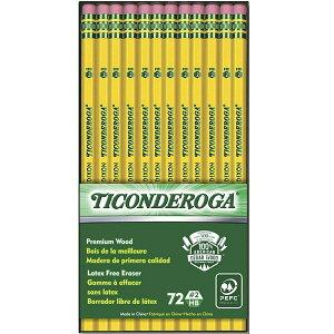 全商品5%オフクーポン発行中 鉛筆セット TICONDEROGA 消しゴム付き鉛筆 輸入鉛筆 ペンシル 72本 #2 HB 輸入文具 消しゴム付き