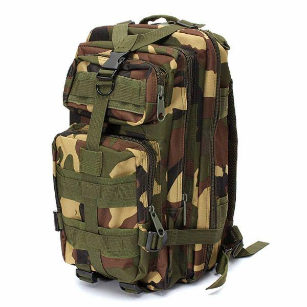 CAMO 防水 20L バックパック アサルト ショルダーバッグ アウトドア キャンプ ハイキング 旅行 Assault Shoulder Bag Military Pack [Forest Camouflage]