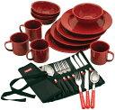 キャンプ用食器セット コールマン 24ピース エナメル テーブルウェアセット Coleman Dinnerware Set (Red)
