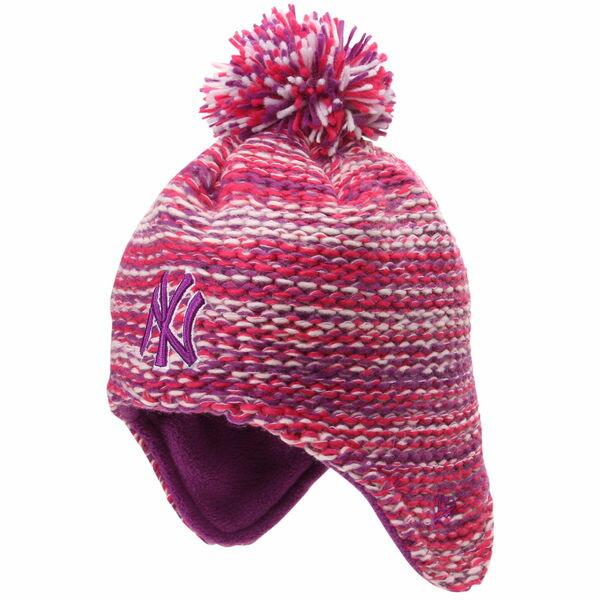 ニューヨークヤンキース New York Yankees Girls New Era ガールズ ニューエラ ニット ビーニー 子供用 帽子 Toddler Pom Bundle Knit Beanie - Pink