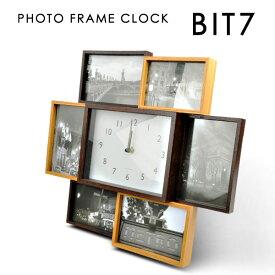 【送料無料】BIT7 ビットセブン 置き時計 壁掛け時計 写真立て フォトフレーム おしゃれ 木目調 アナログ インテリア レトロ あす楽
