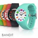 メンズ レディース 腕時計 バンディット 3Dインデックス アナログ スポーツウォッチ シリコンウォッチ かわいい 防水 キッズ 着せ替え あす楽