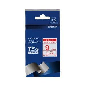 ブラザー販売 TZE-222 ピータッチテープ 9mm白/赤【1巻8m】 TZE222