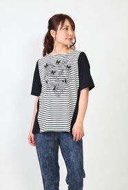 【2019新作】プリマティーボ ハナエモリ ドゥ 日本製 スパンコールTシャツ 天竺ボーダーカットソー ボーダーTシャツ