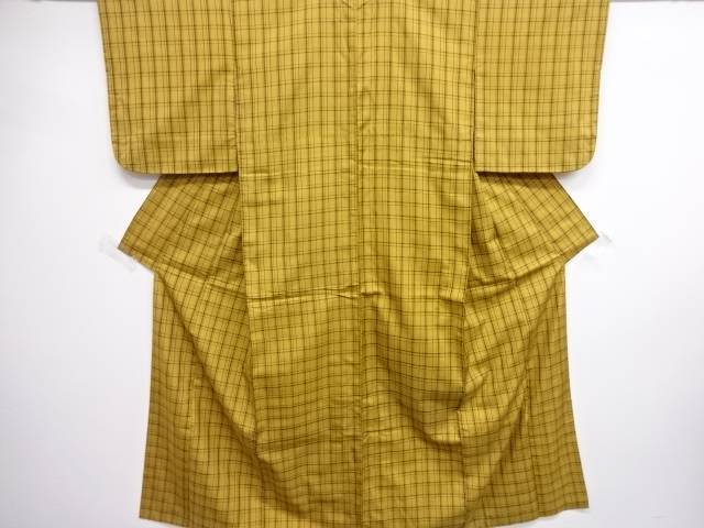 【IDN】 京黄八丈格子織り出し着物【リサイクル】【中古】【着】