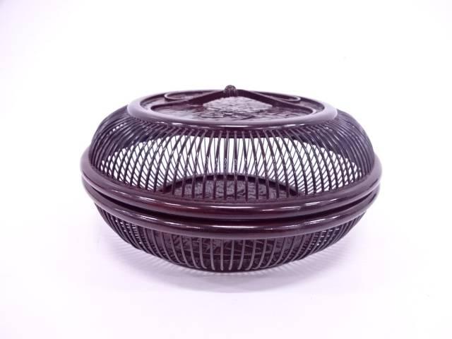 【IDN】 漆塗り千筋細工蓋付菓子器【中古】【道】