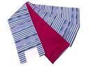 【IDN】 変わり横段模様織出し浴衣小袋帯(日本製)(青)【新品】【着】
