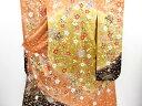 【IDN】 波に枝垂れ桜模様刺繍振袖・長襦袢・袋帯セット【リサイクル】【中古】【着】