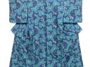 【IDN】 未使用品 枝葉模様織り出し手織り真綿小千谷紬着物【リサイクル】【着】