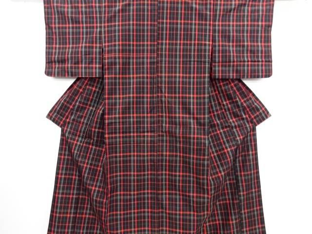 【IDN】 格子織り出し米沢紬着物【リサイクル】【中古】【着】