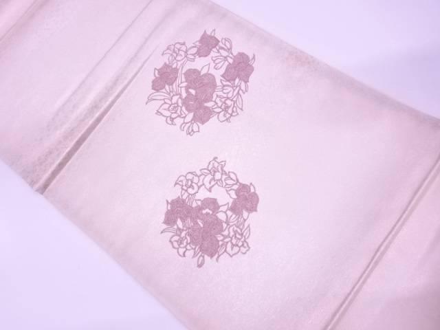 【IDN】 草花模様刺繍袋帯(材料)【アンティーク】【中古】【着】