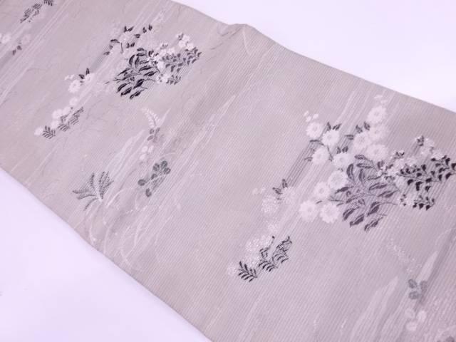 【IDN】 絽霞に草花模様織出し丸帯(材料)【アンティーク】【中古】【着】