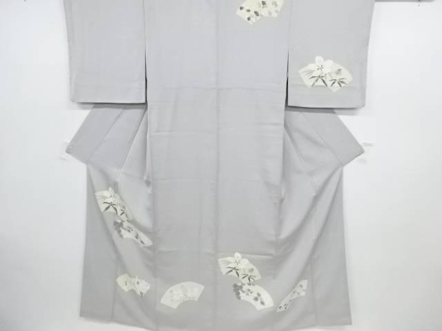 【IDN】 手描き友禅地紙に花・小鳥模様刺繍着物(重ね衿付き)【アンティーク】【中古】【着】