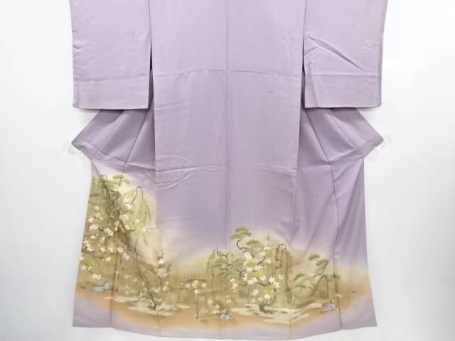 【IDN】 金彩垣根に松竹梅模様刺繍一つ紋着物【アンティーク】【中古】【着】