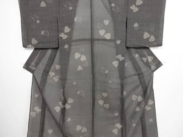 【IDN】 蔦の葉模様織り出し夏十日町紬着物【アンティーク】【中古】【着】