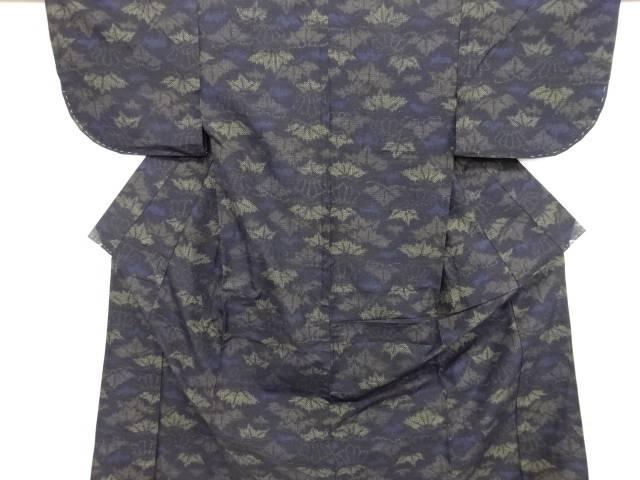 【IDN】 葉模様織り出し十日町紬単衣着物【大正ロマン】【中古】【着】