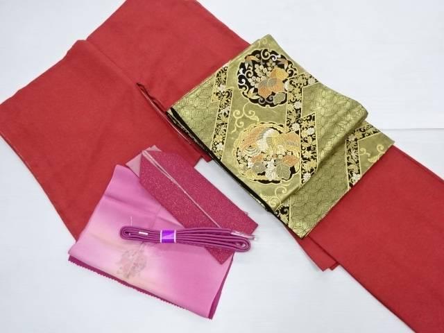 【IDN】 寿光織菊尽くし模様織り出し一つ紋色無地着物 袋帯・帯揚げ・帯締め・重ね衿セット【リサイクル】【中古】【着】