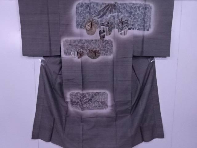 【IDnet】 男物長襦袢 袷仕立て 破れ色紙に和歌とお仕覆文 リメイク 材料【リサイクル】【中古】【着】