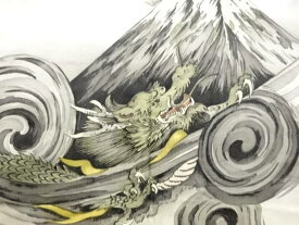 【IDnet】 富士に龍模様肩裏本場泥大島紬男物羽織【アンティーク】【中古】【着】