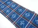 【IDnet】 手織り真綿紬格子に琉球絣柄織り出し名古屋帯【リサイクル】【中古】【着】