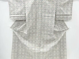 【IDnet】 花菱模様織り出し手織り紬単衣着物【リサイクル】【中古】【着】