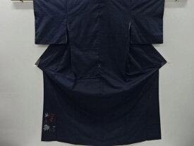 【IDnet】 上島洋山作 能州紬葡萄模様織り出し付け下げ着物(重ね衿付き)【リサイクル】【中古】【着】