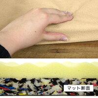 低反発素材と高密度のチップウレタンの2層構造で沈み込み過ぎを防止