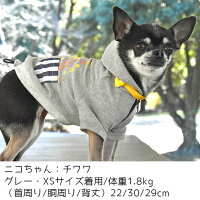 チワワ1.8kgのニコちゃんはグレーのXSを着用