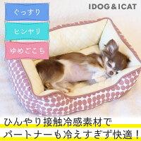 IDOG&ICATひんやりBOXベッドドットSサイズアイドッグ。