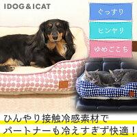 IDOG&ICATひんやりBOXベッドドットMサイズ。