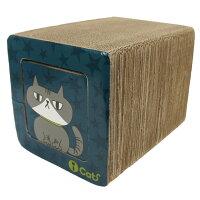 【猫】【つめとぎ】iCatアイキャットオリジナル飛び出すつめとぎネコトンネル。表はネイビーの星柄にグレーのネコ柄